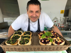 Tony with Green Mango Kitchen Vegetarian and Vegan Tarts
